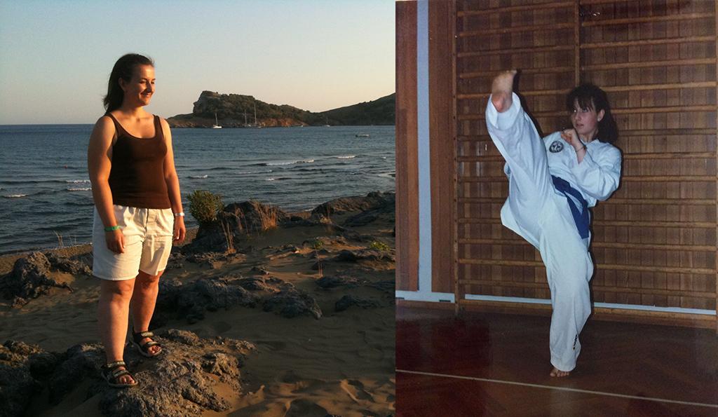 Christina am Strand und beim Karate
