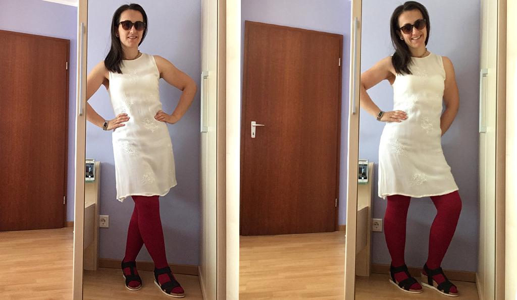 Ein Outfit mit Kompressionsstrümpfen und Sandalen