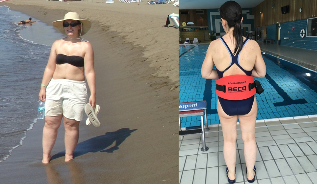 Bloggerin Christina am Wasser vor und nach dem Abnehmen