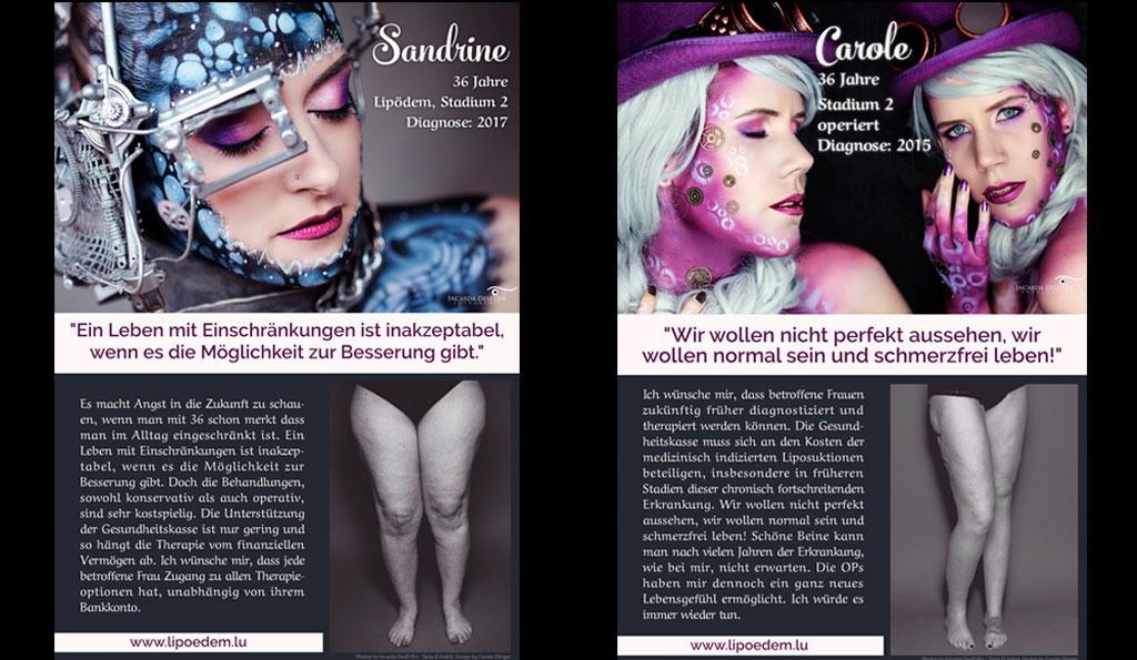 Zwei Detail-Flyer der Lipödem-Kämpferinnen aus Luxemburg